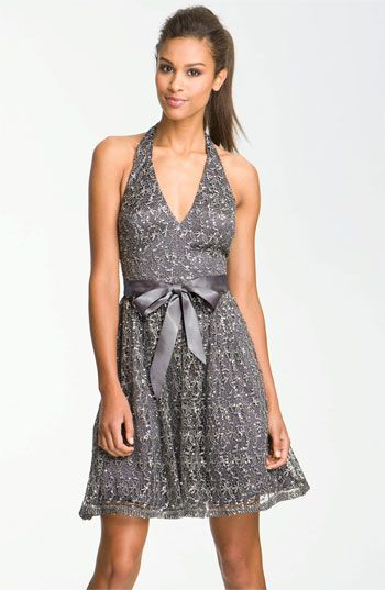 Adrianna Papell Sequin Lace Halter Dress available at #Nordstrom
