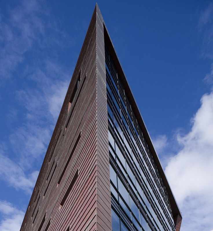 Triangular architecture at the arts campus of Plymouth University by Henning Larsen Architects. Photo by David Barbour