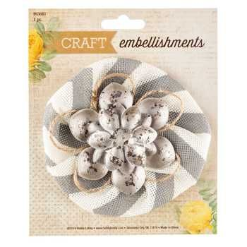 Chevron Burlap & Metal Flower