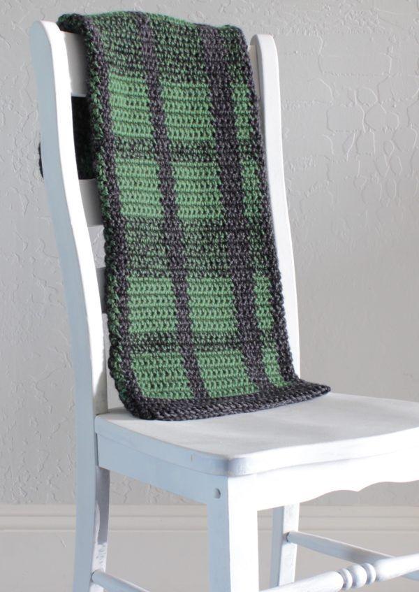 crochet plaid blanket | Hook, yarn & scissors | Pinterest | Manta y ...