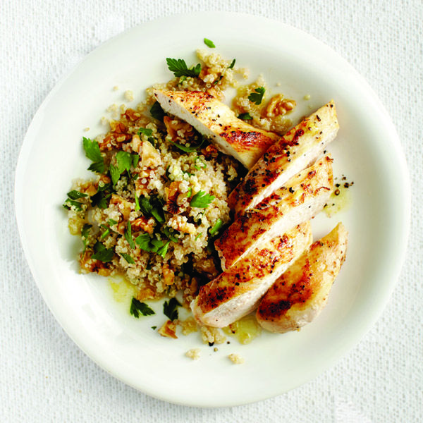 Maple-cider chicken and nutty quinoa recipe. I made this and loved it!  I skipped the walnuts and parsley though.  Put the sauce on the side... very tasty, but would have been a little overkill all over the food.