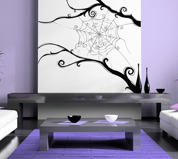 spider web wall decal:
