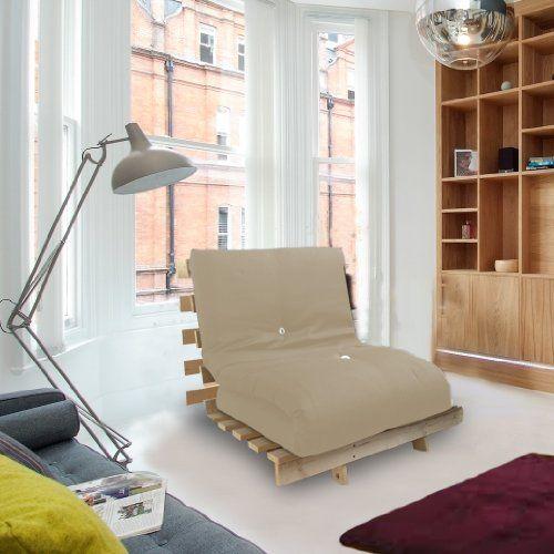 Futon Sessel mit Bettfunktion, inklusive Holz-Lattenrost, Matratze in verschiedenen Farben erhältlich 90 x 190 cm stone