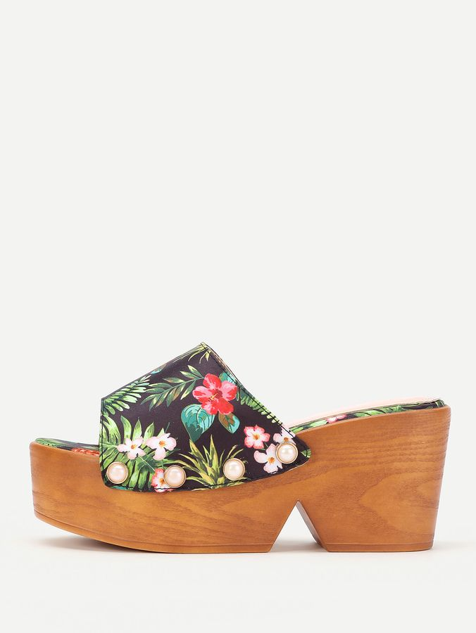 fce9a228a54c Faux Pearl Decorated Jungle Print Platform Wedges