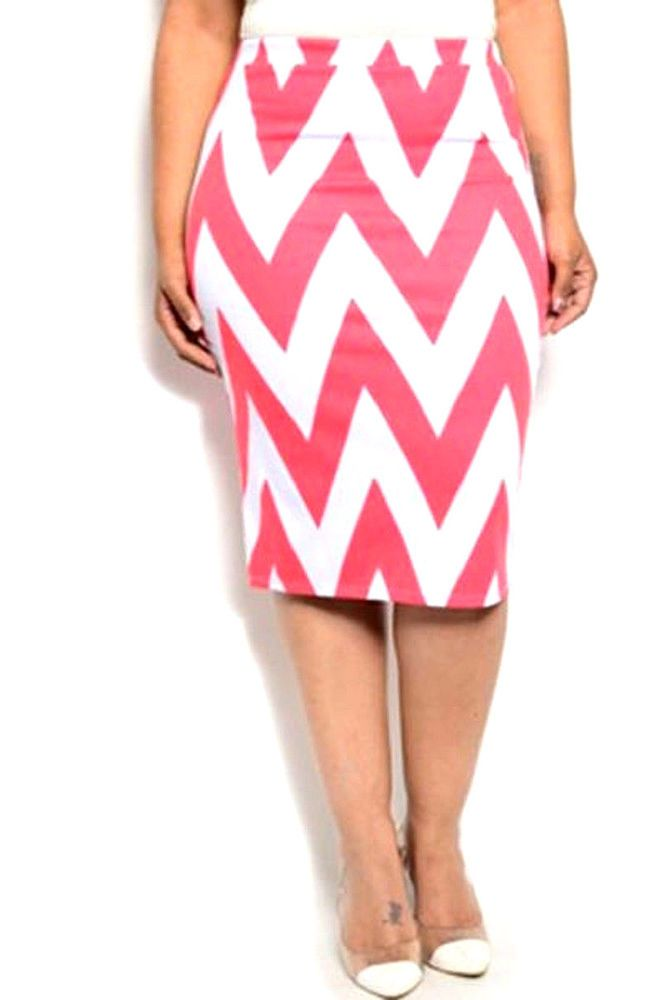 9b886c34cb2 MOA Women s Pencil Skirt Coral White Chevron Knee-Length Elastic-Waist SIZE  2XL  MOA  StraightPencil  EVERYDAY