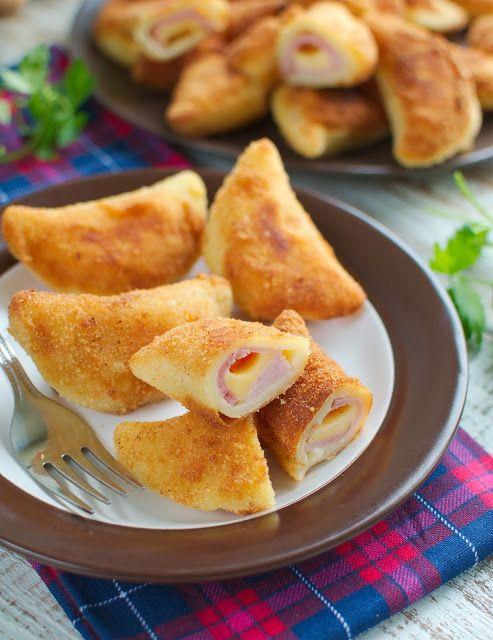 Sofficini z szynką i serem (włoskie pierożki z ciasta parzonego)