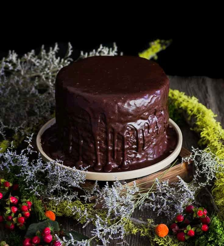 Death by Chocolate cake has three layers of a moist, rich chocolate cake topped with a silky whipped chocolate ganache. Spoonabilities.com