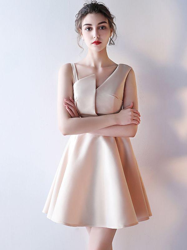 Khaki Asymmetric Neckline Skater Evening Dress Metisu Evening Dresses Ball Dresses Dresses