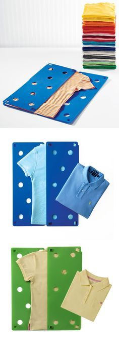 """Your shirts, sweaters, pants - and even towels - will be perfectly folded thanks to the FlipFOLD Laundry Folder. This handy tool folds items to a uniform 9"""" x 12"""" size, making it easy to neatly organize your drawers and shelves. The patented anti-static design allows for air flow so your garments stay in place. The FlipFOLD saves you time and is incredibly easy to use."""