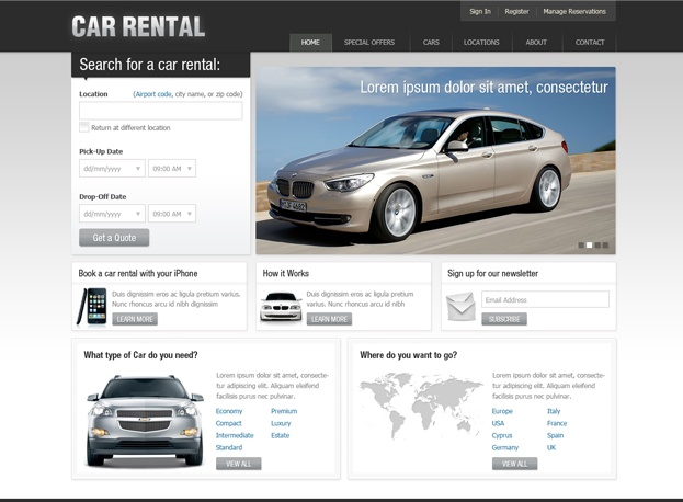 Template # 165  Free Car Rental Website Template is great solution for car rental or rent a car website. Gain advantage over your competitors by reducing design costs and time. Download our professionally designed car rental template to refresh your web design and style.  Price: FREE Format: PSD files