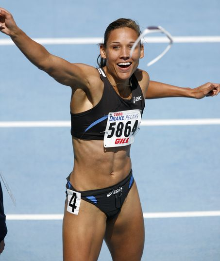 Lolo Jones! Those legs don't fit into a 0 size jeans! :)