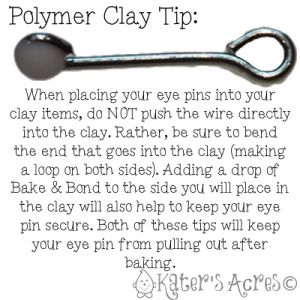 Polymer Clay Tip: Securing Eye Pins into Clay by KatersAcres | CLICK for more polymer clay tutorials, tips, & tricks