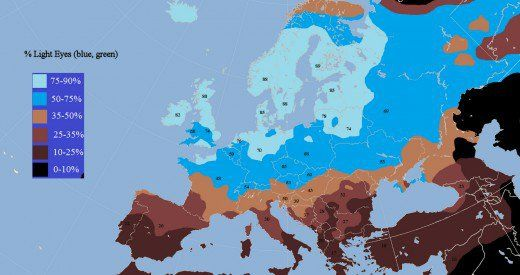 A map showing the density of light-eyed people in Western Europe. Melanoma risk increases for those who produce less eumelanin.