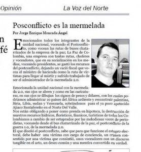 El Postconflicto, La Mermelada 2.O | Jorge Moncada Angel
