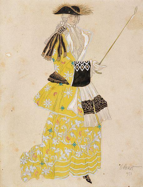Sleeping Beauty by L. Bakst.Эскиз костюма Графини «Спящая красавица», 1921 Бумага, карандаш, акварель, серебряная и золотая краска 28 × 21.5 cм