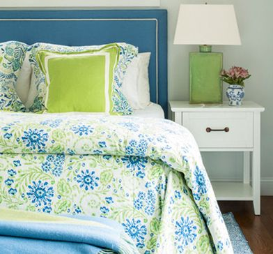 Lime green and blue bedding set and decorating ideas for a big girl bedroom.