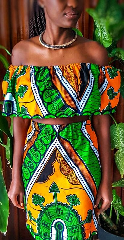 African print two piece top ~DKK ~African fashion, Ankara, kitenge, African women dresses, African prints, African men's fashion, Nigerian style, Ghanaian fashion.