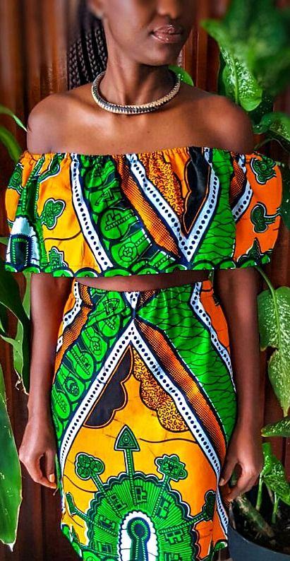 African print two piece top & skirt set / size medium / ankara / wax print…