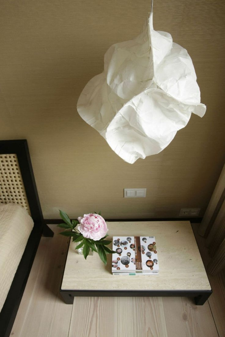 Apartment : Impressive Apartment Design in Saint Petersburg by MK-Interio - Paper Hanging Lantern Decorations over Two Tone Wooden Bedside Table medium version