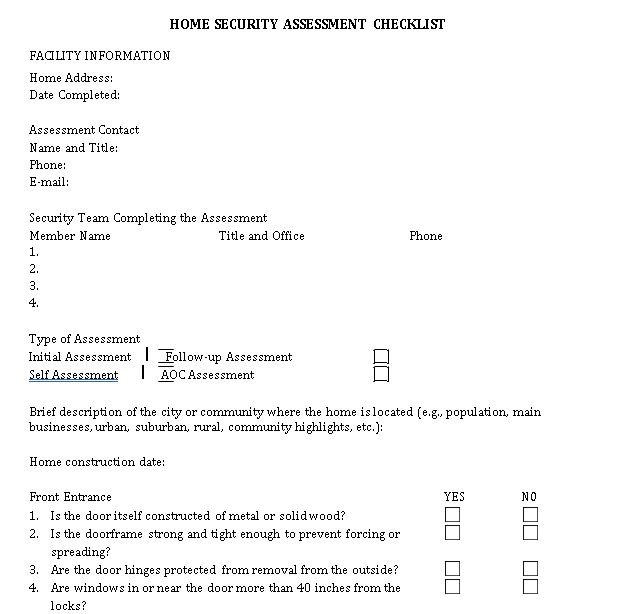 Sample Home Security Assessment Checklist Security Assessment Checklists Template Assessment Checklist Security Assessment Checklist Template