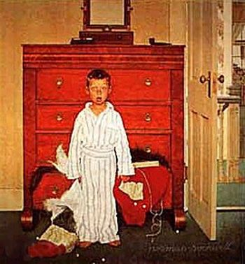 Google Image Result for http://designresearchgroup.files.wordpress.com/2007/10/4747_24167_discovery_by_norman_rockwell.jpg: Rockwell Art, Art Norman Rockwell, Christmas, Holidays, Discovery By Norman Rockwell, Artist Normanrockwell