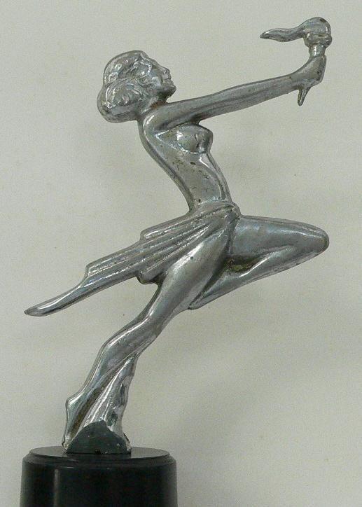 Radiator Mascot. Unattributed, Flamme Olympique . Height 170 mm Chrome-plated bronze. Belgium