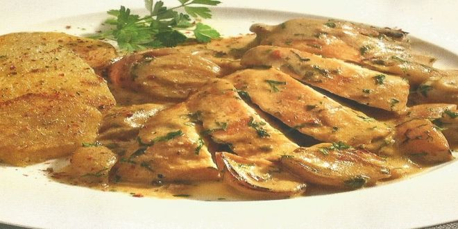 Fricasé de Pollo en Salsa de Champiñones, una deliciosa y fácil Receta para cuatro personas.