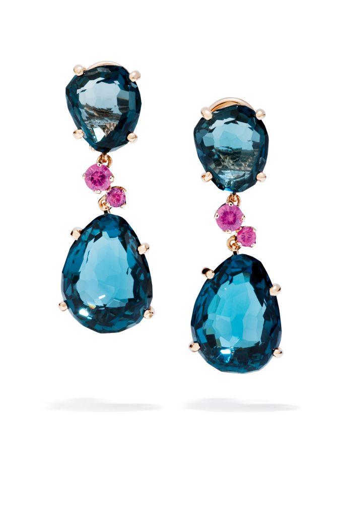 Pomellato earrings. London blue topaz and pink sapphires.