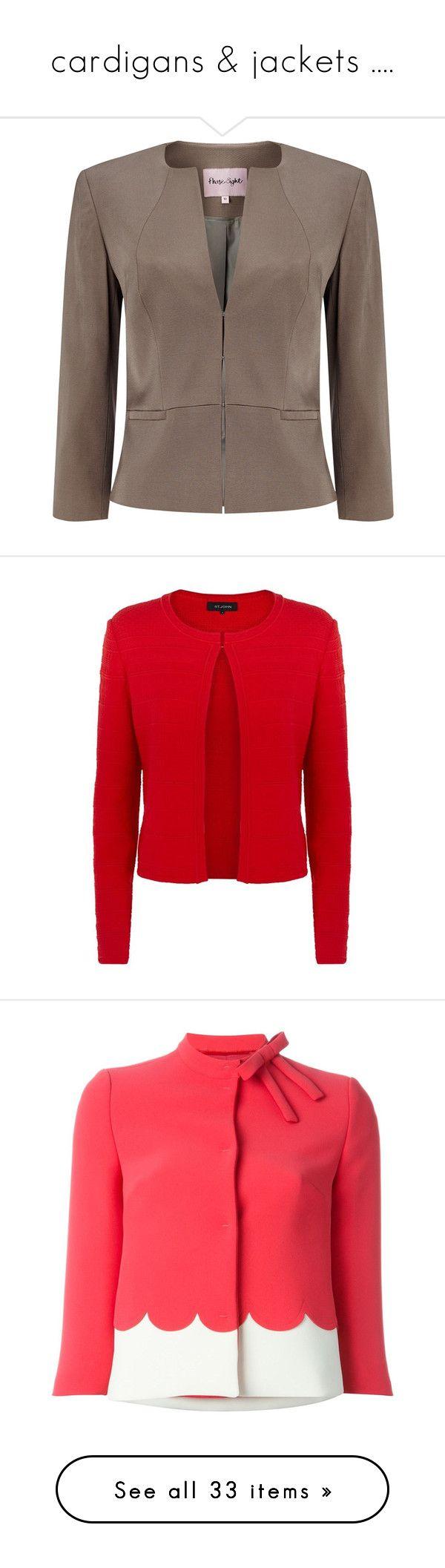 """cardigans & jackets ...."" by prettyangel-1 on Polyvore featuring outerwear, jackets, 3/4 sleeve jacket, collarless jacket, evening jackets, brown jacket, short jacket, blazers, travel blazer et zip front jacket"