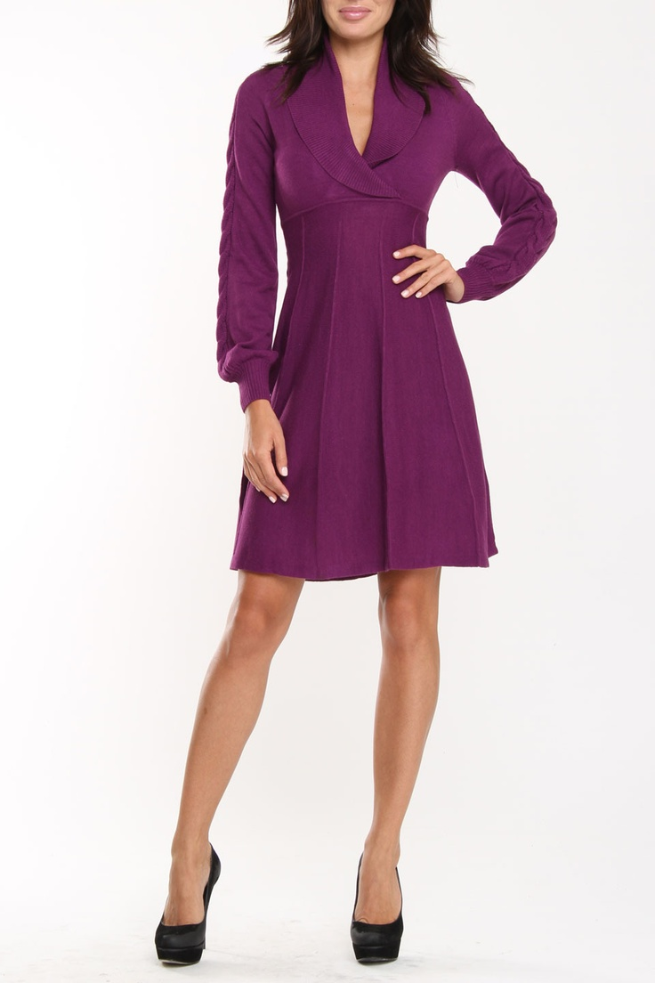Nine West Sia Shawl Collar Empire Waist Dress In Radicchio LOVE THIS!!!