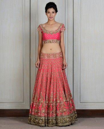 Red Embroidered Raw Silk Lengha - Manish Malhotra