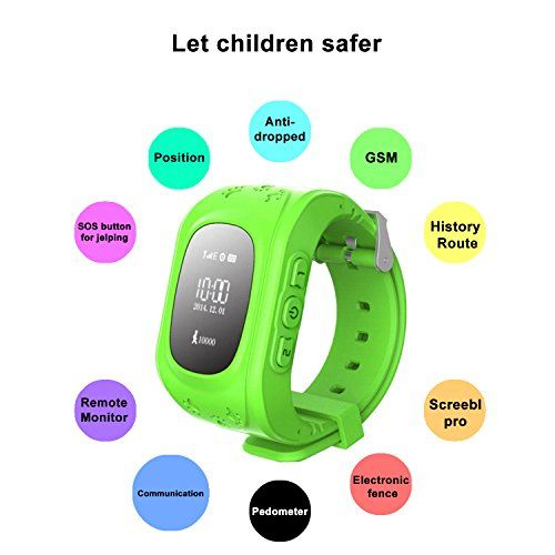 EiffelT GPS Tracker Smart Watcher for Kids with 2G Internet Sim Card Smartwatch Phone Anti-lost Finder SOS Gprs gps Tracker Wrist Watch Bracelet with Parents Control App (Green)   Main Features:Only support SIM card of 2G-GSM network, Two-Way Calls, SOS Emergency Call,GPS Location,Security Fence, Voice Chat, Fitness Tracker, Alarms.<b