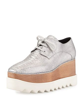 Textured+Faux-Leather+Wedge+Oxford,+Silver+by+Stella+McCartney+at+Neiman+Marcus.