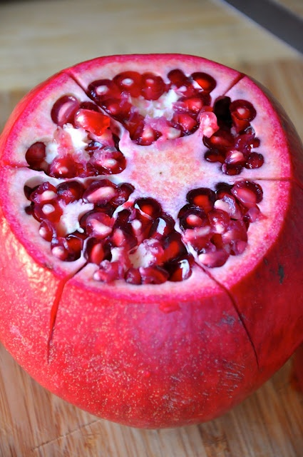 How to eat a pomegranate!  So easy!!  I wish I would have known this when we had a bush in the front yard!