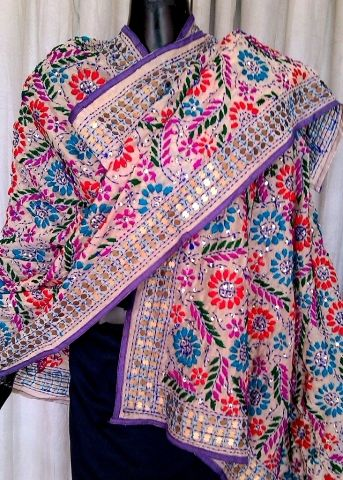 Phulkari Dupatta on Chanderi Fabric - Light Gray: GiftPiper.com. Shop here for phulkari dupatta, embroidered dupattas, phulkari sarees and phulkari suit