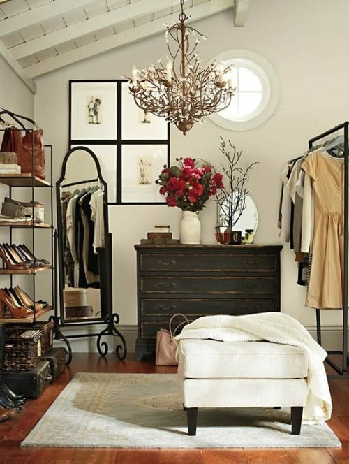 Even if you don't have a walk-in closet, there's a strong possibility you can make room for one. Here's some tips on ways to create your dream closet or dressing room!  1 - Find a corner and hook in a rack. To make it feel like a dressing area, add a full length room and a bench or ottoman. Add a floor lamp or pendant light for bonus points.  2 - To create a 'room', wall it off by surrounding the space with open shelves or a cabinet or even try wallpapering or ...