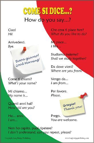 Italian Language Poster - Greetings and Common Phrases, Bilingual Chart for Classroom and Playroom, text in Italian with English translation http://www.amazon.com/dp/B0073LDSDA/ref=cm_sw_r_pi_dp_SXirtb0GF4Z3VZYM