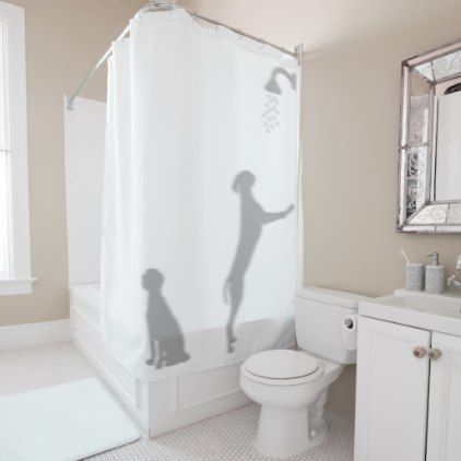Dogs In Shower Behind Silhouette Shadow Funny Fun Shower Curtain - shower curtains home decor custom idea personalize bathroom