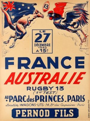 France vs Australia Rugby 1952 - original vintage poster by Paul Ordner listed on AntikBar.co.uk