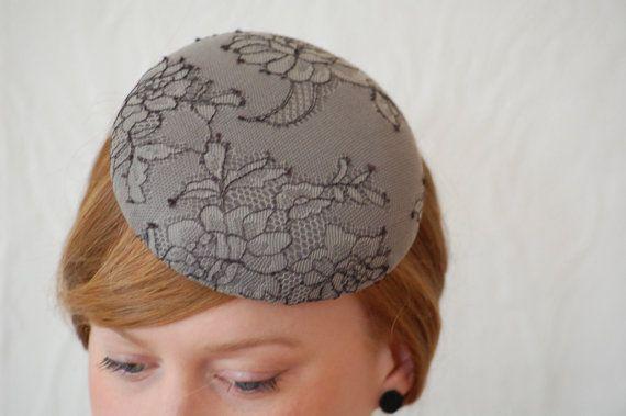 grey & lace vintage style pillbox hat / fascinator by HeatherFeatherDesign, £40.00