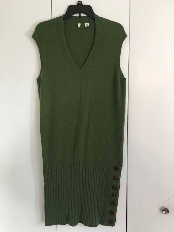 Nice Nice Amazing Anthropologie moth cup sleeves sweater dress V Neck Knee Lenght Green Medium