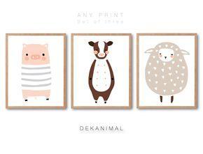 Sheep art print Pig Art Print Cow Print Baby Nursery Art