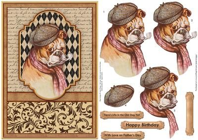 LIFE IN THE OLD DOG YET Card Topper Decoupage on Craftsuprint designed by Janet Briggs - Humorous card topper and step by step decoupage, featuring a vintage painting of a bulldog with hat and pipe.Several sentiment tags, including one blank. The others read,Happy BirthdayWith Love on Father's DayThere's Life in the Old Dog Yet!A coordinating insert is available, see multilink below. - Now available for download!