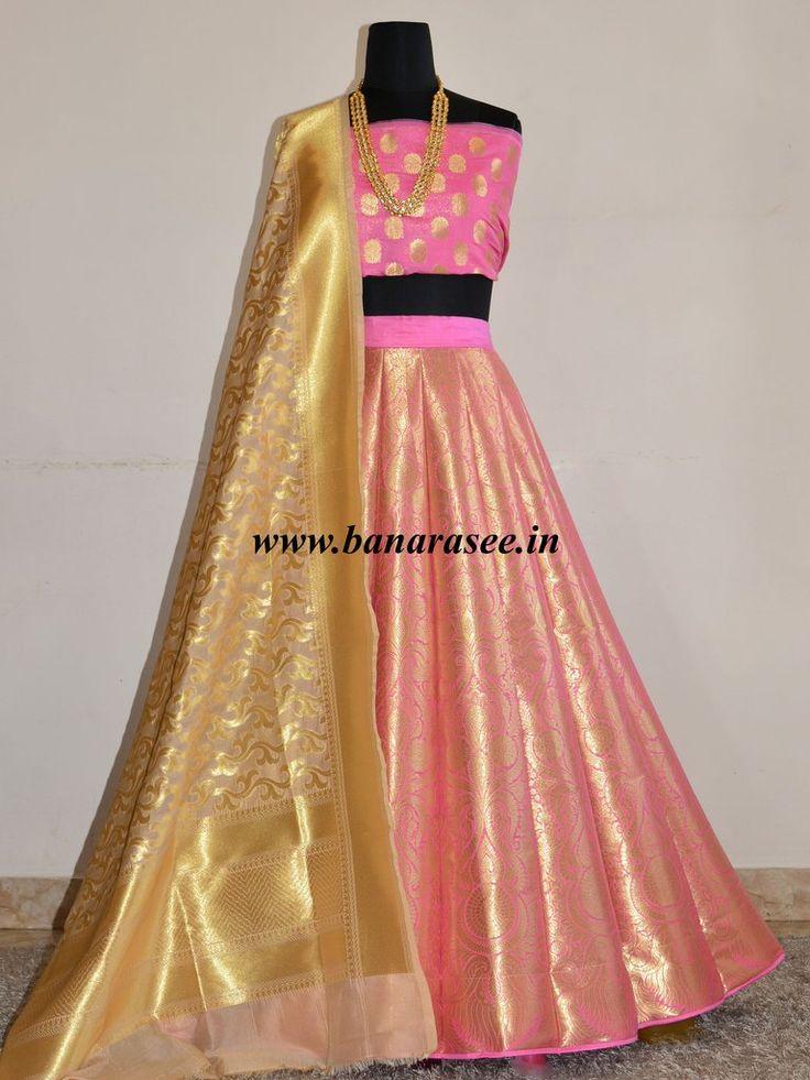 Banarasee/Banarasi Handwoven Art Silk Unstitched Lehenga & Blouse Fabric-Pink