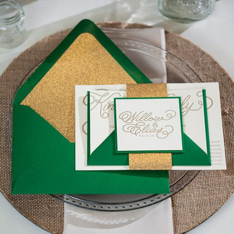 WILLOW Suite Glitter Package, rustic wedding invitation, glitter wedding invitations, letterpress wedding invitations, gold and green, calligraphy wedding invitation, wedding invitation script font