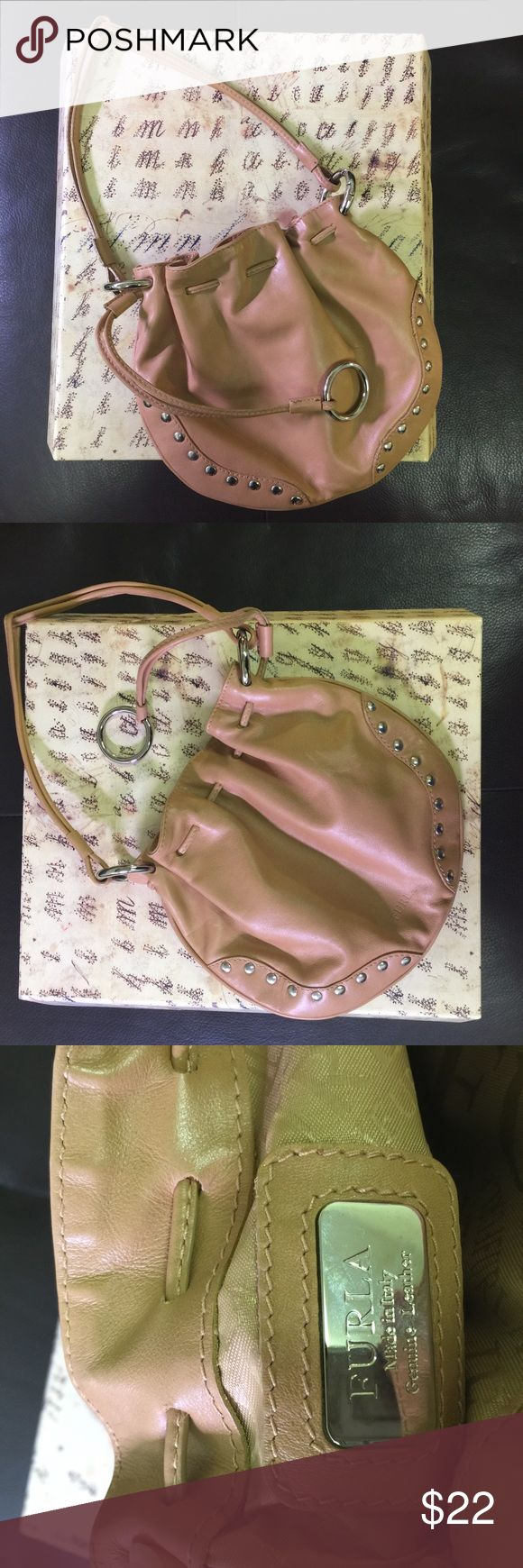 Darling Furla mini bag with studs. This sweet bag can be carried in your tote for a  shopping foray. In EUC with one mark shown in last photo. Reposh. 9x7.5 Furla Bags