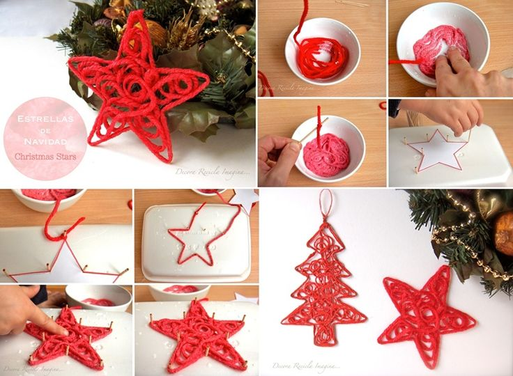 Craft These Shaped Yarn Ornaments to Adorn Your Christmas Tree  - http://www.amazinginteriordesign.com/craft-shaped-yarn-ornaments-adorn-christmas-tree/