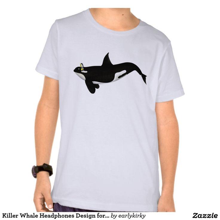 Killer Whale Headphones Design for Music Lovers Tee Shirt