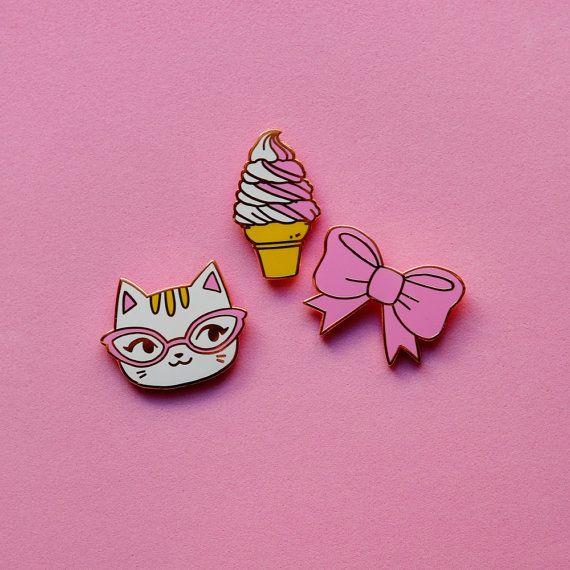 Enamel Pin Set Bow Ice Cream Cat by sockie on Etsy