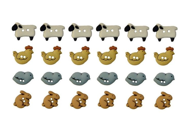 Jesse James Buttons 24 Country Critters Sew Thru Sheep Chicken Chick Bunny Rabbit Novelty Buttons by ButtonJonesJr on Etsy https://www.etsy.com/listing/168869355/jesse-james-buttons-24-country-critters